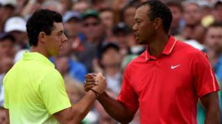 Rory McIlroy and Tigers Woods during the final round of the 2015 Masters