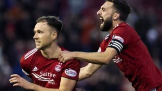Aberdeen's Greg Stewart and Graeme Shinnie celebrate