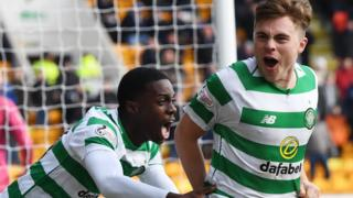 Celtic's Timothy Weah and James Forrest celebrate