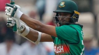 Bangladesh's Shakib Al Hasan plays a shot against Afghanistan