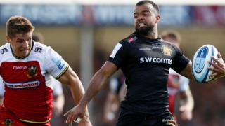 Tom O'Flaherty races away to score for Exeter