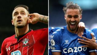 Southampton's Danny Ings and Everton's Dominic Calvert-Lewin
