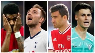 Man Utd striker Marcus Rashford, Tottenham midfielder Christian Eriksen, Arsenal defender Sokratis and Chelsea goalkeeper Kepa Arrizabalaga