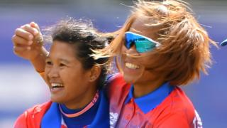 Thailand captain Sornnarin Tippoch celebrates a New Zealand wicket