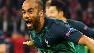 Tottenham striker Lucas Moura celebrates his winning goal for Tottenham against Ajax in the Champions League semi-final
