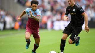 Felipe Anderson of West Ham United battles for possession with Aymeric Laporte