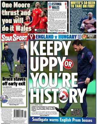 The back page of the Daily Star