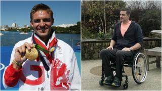 Pete Reed split photo - on the left, holding his Rio 2016 Olympic gold medal, on the right in a wheelchair