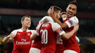 Mustafi celebrates with his team mates