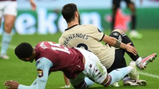 Manchester United got a penalty when Bruno Fernandes span into Ezri Konsa