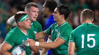 Ireland celebrate CJ Stander's try