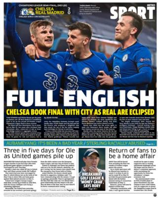 Thursday's back pages: Metro: 'Full English'