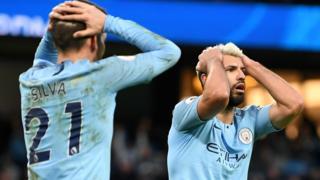 David Silva and Sergio Aguero in shock