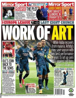 The back page of Friday's Mirror