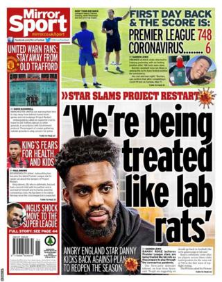 The back page of Wednesday's Mirror