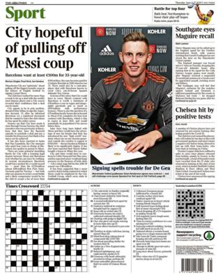Thursday's Times back page with the headline City hopeful of pulling off Messi coup