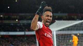 Pierre-Emerick Aubameyang celebrates scoring for Arsenal against Manchester United
