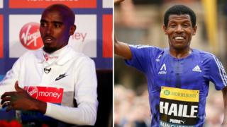Mo Farah (left) and Haile Gebrselassie