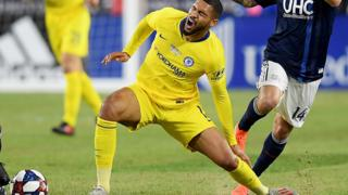 Chelsea's Ruben Loftus-Cheek injures his ankle during a friendly against New England Revolution