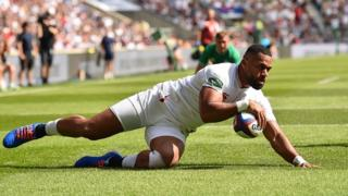 Joe Cokanasiga scores for England