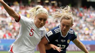 England captain Steph Houghton and Scotland's Erin Cuthbert in action during the 2019 Women's World Cup in France