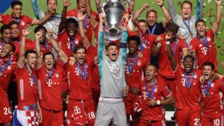 Bayern Munich celebrating winning the Champions League