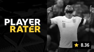 Player rater graphic with Raheem Sterling celebrating