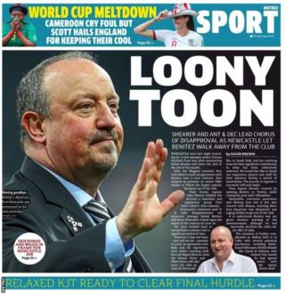 Tuesday's Metro back page