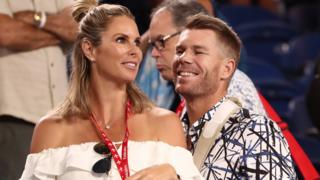 David Warner and wife Candice at the Australian Open