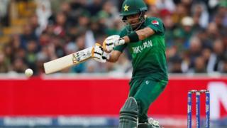 Pakistan's Babar Azam plays a pull shot