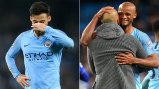 A split image of David Silva (left) holding his face in dejection after defeat by Spurs in the Champions League and (right) Pep Guardiola hugging Vincent Kompany after victory over Leicester