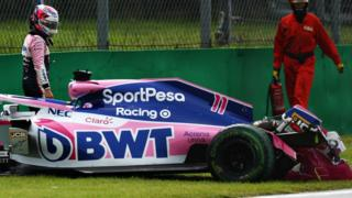 Sergio Perez after practice crash