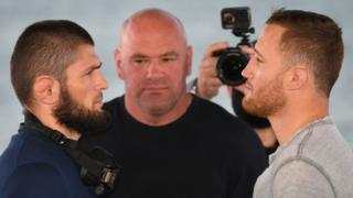 Khabib Nurmagomedov, Dana White and Justin Gaethje at the pre-fight press conference for UFC 254