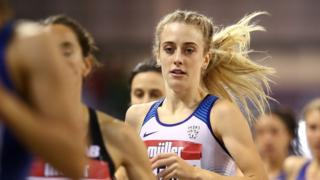 Britain's Jemma Reekie competes in the women's 1500m final at the Indoor Grand Prix in Glasgow