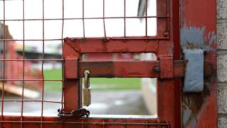 Gates locked at a football club