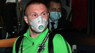 Ludogorets Romanian defender Cosmin Iosif Moti wore a face mask as a safety measure before the Europa League match against Inter Milan