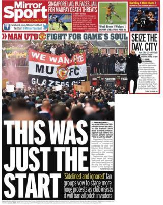 Tylna strona Daily Mirror we wtorek