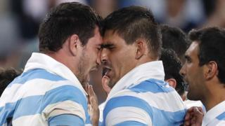 Argentina celebrate a try