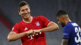 Robert Lewandowski celebrates scoring for Bayern Munich against Chelsea in the Europa League