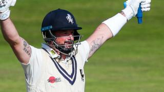 Darren Stevens celebrates bringing up his century for Kent