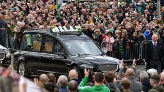 Funeral cortege at Celtic Park