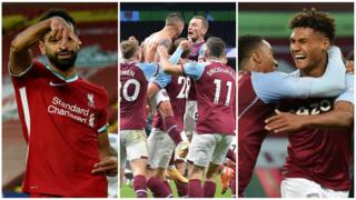 Liverpool's Mo Salah, West Ham celebrate Manuel Lanzini's goal and Ollie Watkins