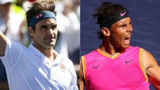 A split image of Roger Federer (left) and Rafael Nadal (right) celebrating during their quarter-final wins at Indian Wells