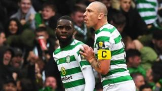 Celtic's Odsonne Edouard and Scott Brown