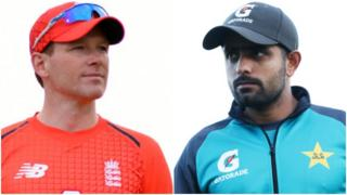 England captain Eoin Morgan and Pakistan's Babar Azam