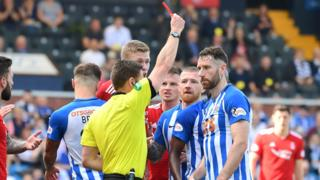 Kilmarnock's Kirk Broadfoot sent off against Aberdeen