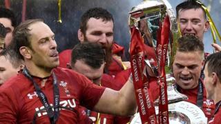 Captain Alun Wyn Jones holds the Six Nations trophy