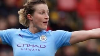 Ellen White celebrates scoring for Manchester City