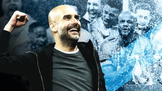 Man City manager Pep Guardiola punches the air in celebration