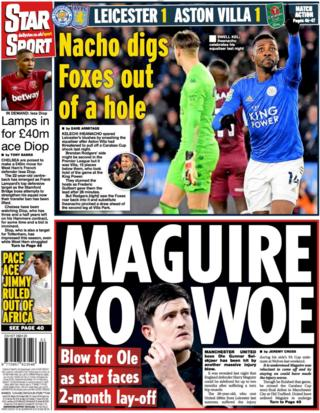 The Daily Star leads on Harry Maguire being injured